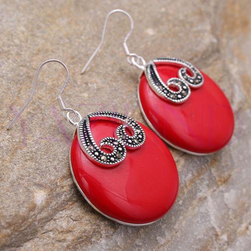 Whosle ovl gte rojo mujeres 925 sterling silver fshion errings