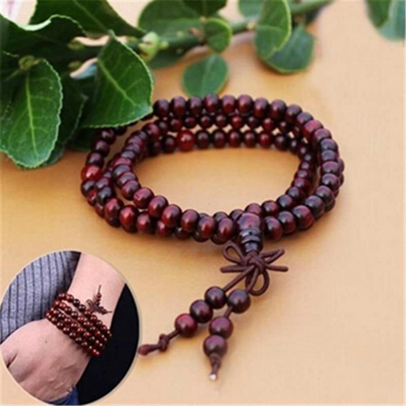 Fatpig hecho a mano mujeres hombres sándalo rojo 108 cuentas Buda Budista para meditar y rezar colgante de pulsera pulseras
