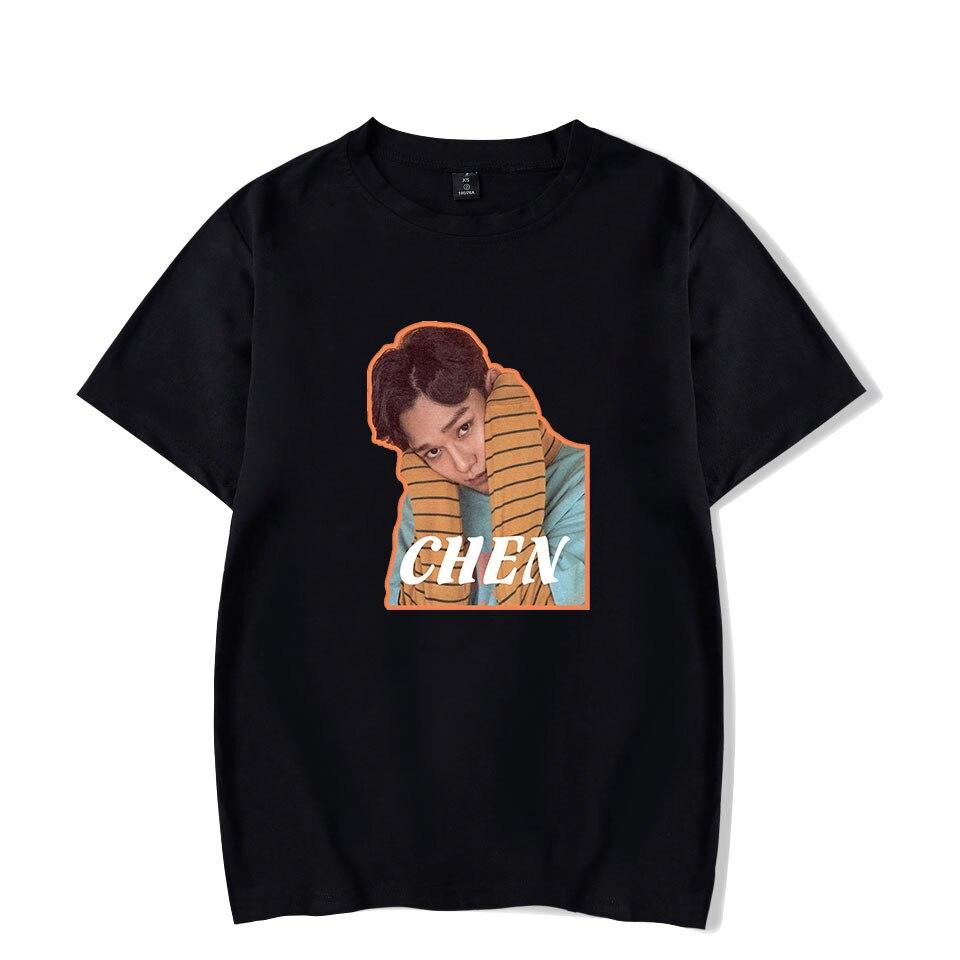 K-POP camiseta de Exo CHEN XIUMIN negro de manga corta para hombre/mujer ropa de verano Harajuku Tops camisetas