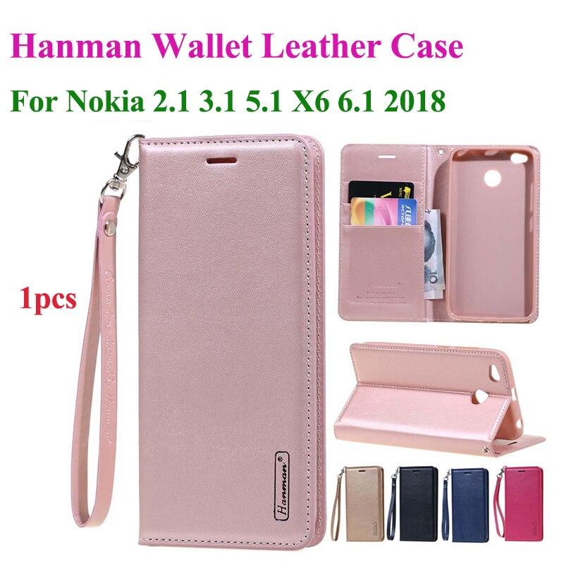 Hanman Flip Leder Fall Für Nokia 2,1 3,1 5,1X5X6 6,1 2018 Hängen Seil Serie Echte Brieftasche karte Slot Fall Abdeckung