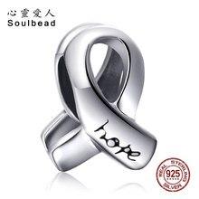 Soulbead Fit Pandora Charms srebrny 925 oryginalny świadomość raka piersi wstążka nadzieja urok wisiorki z koralikami bransoletki DIY biżuteria
