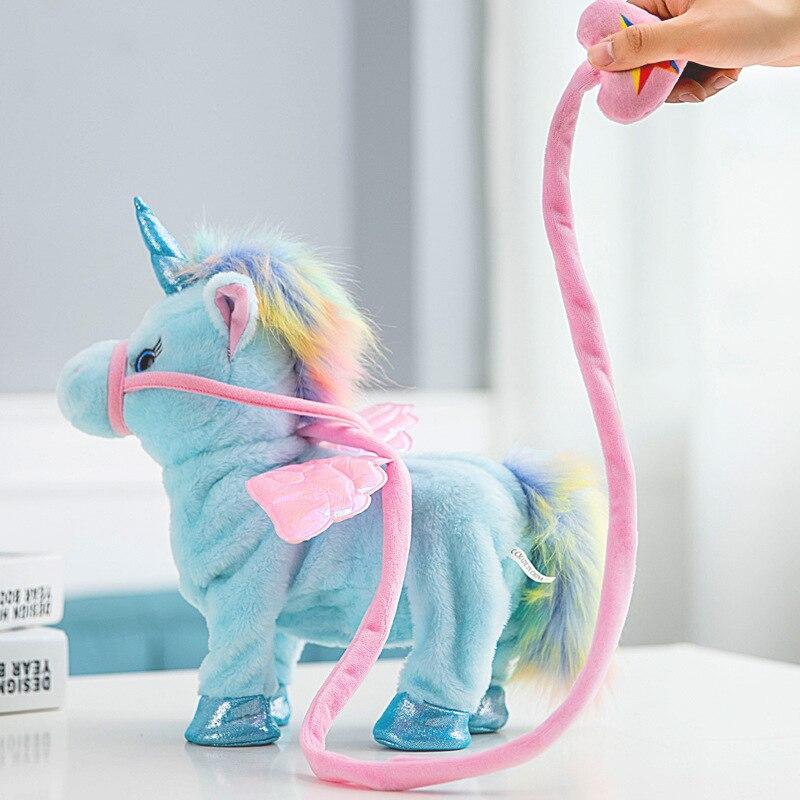 Unicornio que canta y camina, Robot electrónico de felpa, caballos, nuevo regalo de Navidad, juguetes electrónicos de peluche para niños, regalos de cumpleaños, 35cm