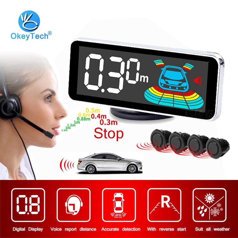 Auto Parktronic LED aparcamiento Digital 4 Sensor de marcha atrás aparcamiento de coche de marcha atrás Radar Monitor sistema Detector de luz de fondo Displa