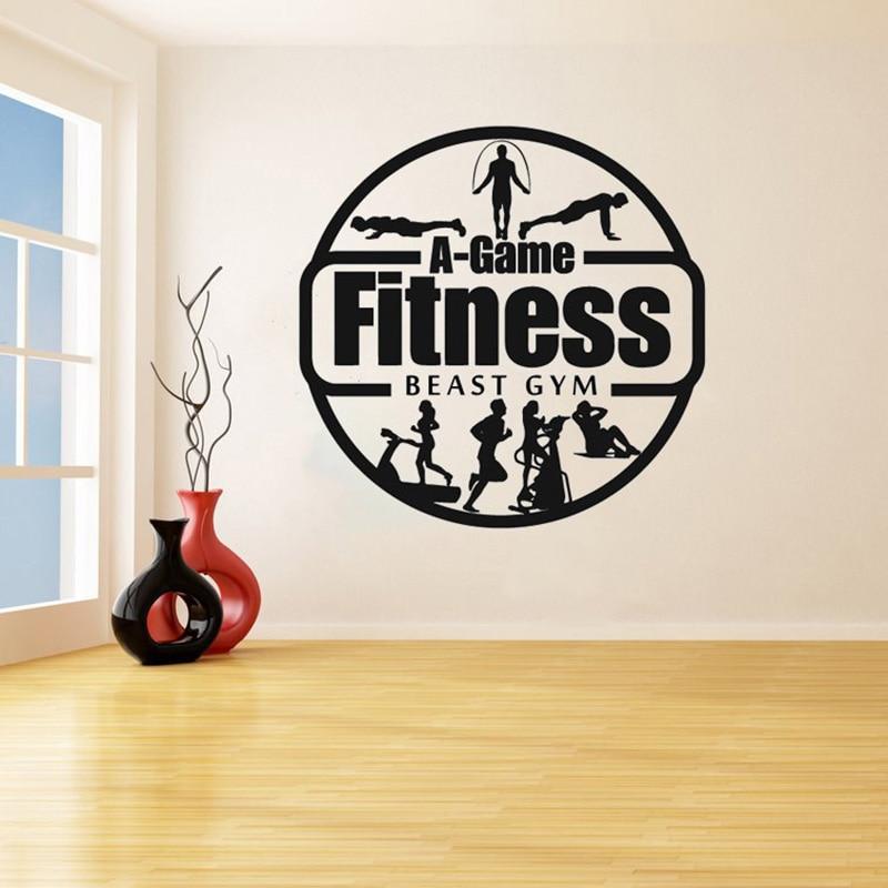 Ginásio fitness decalques de parede ginásio trabalhar para fora menina motivação crossfit log arte adesivos vinil quarto decoração sala ginásio estúdio sp014