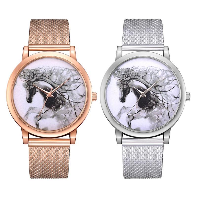 Moda Feminina Malha Relógio Pulseira de Quartzo Relógios 3D Cavalo Relógio Analógico Casual Relógios de Pulso Mulheres Vestido Relógios Relogio feminino