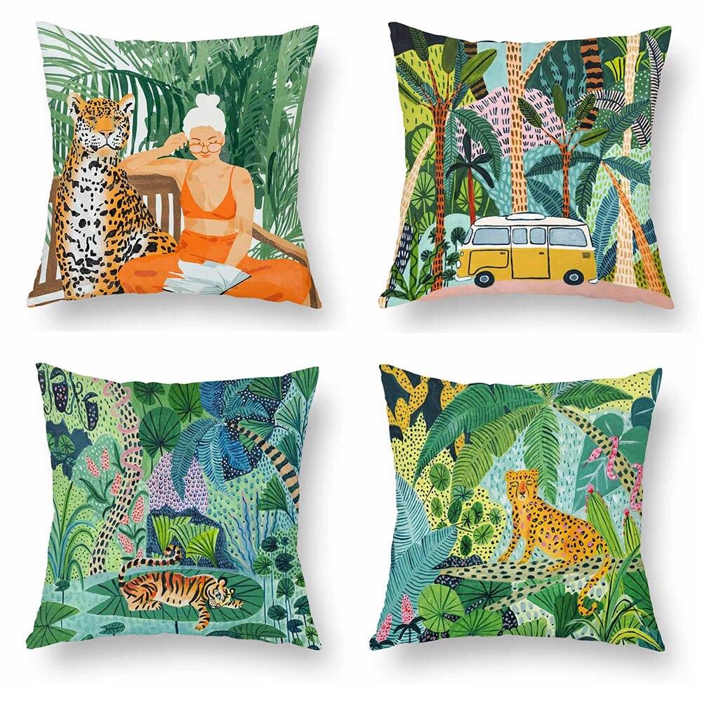 Funda de cojín de dibujos animados de la señora del zorro del tigre del árbol de la selva pintura al óleo suave funda de almohada 45X45cm decoración del sofá