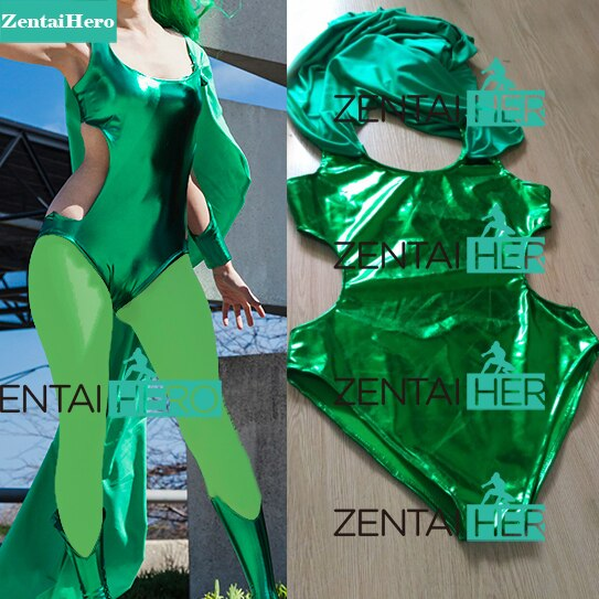 Zentaihero verde x-men brilhante polaris traje lorna dane zentai ternos feminino traje de super-herói para 2017 halloween cosplay festa