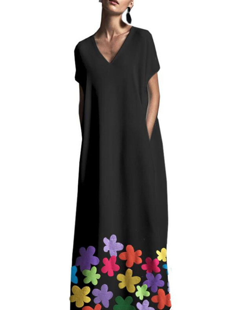 Femmes robe longue ample nouveau style fleur imprimé col en V bohême paréo vêtements de plage Cape de plage été à manches courtes avec poches bleu