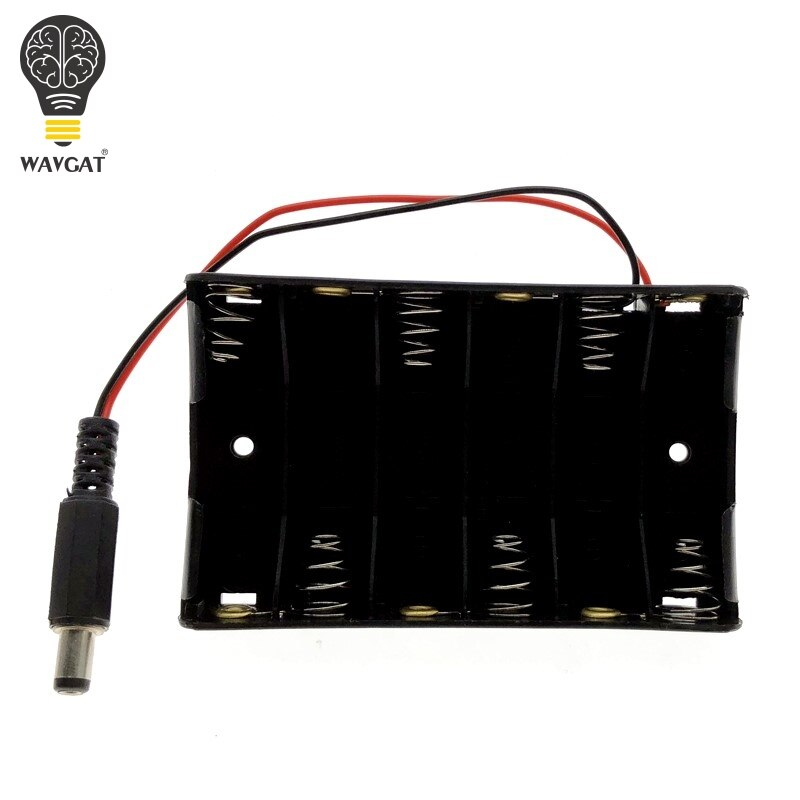 WAVGAT Size 6 AA Battery Case Holder Box For 6pcs Size AA Battery Case Storage Holder With DC2.1 Power Jack For Arduino.