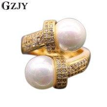 GZJY gracieux micro-inserts bijoux AAA cubique Zironia coquille perle anneau couleur or jaune femmes anneaux G07-2