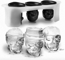 Moule à glace en silicone 6x5cm   Moule Halloween créatif en 3D dessin animé, plateau à glace tête de crâne fantômes, bricolage