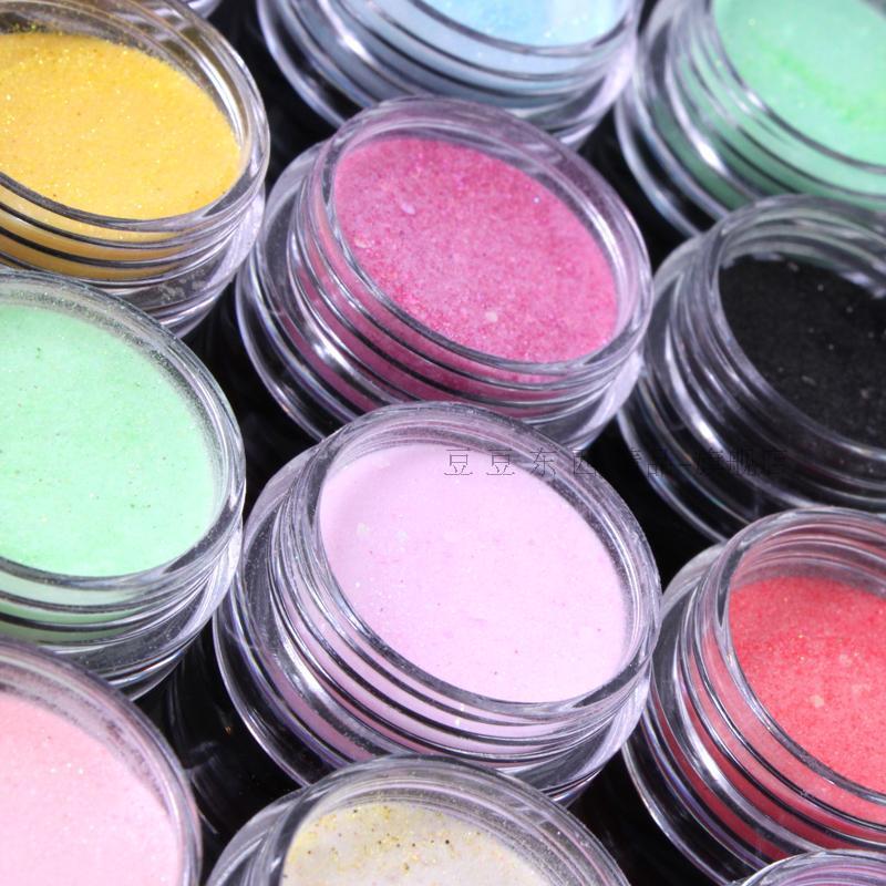 Nails Acryl Pulver Glitter Staub 12 Farben/PCS Nail art Dekoration Werkzeuge