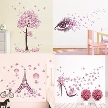 Autocollants muraux papier peint arbre à fleurs papillon rose   Papier peint fleur pour filles femmes, décor pour chambre et salon