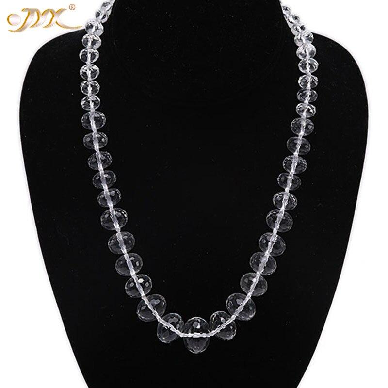 JYX хрустальное ожерелье 8x6-18x13мм граненые овальные многоразмерные белые бусины из горного хрусталя ожерелье ювелирные изделия ручной работ...
