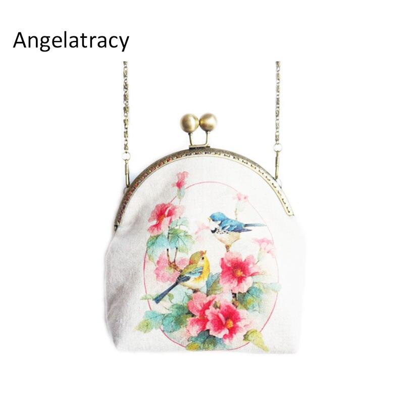 Angelatrancy Vintage Mori boca oro flor Mini BOLSA teléfono móvil tarjeta llave Casual mujer bolso cartera bandolera