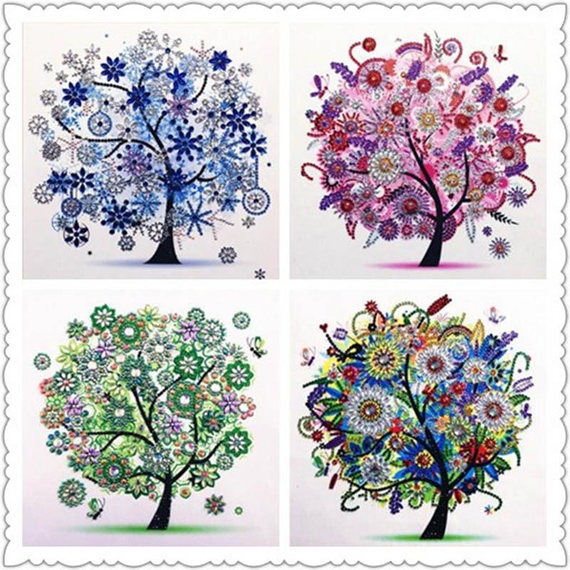 5D DIY diamante bordado Flor de cuatro estaciones árbol forma especial diamante pintura rhinestone cristal diamante decoración de punto de cruz