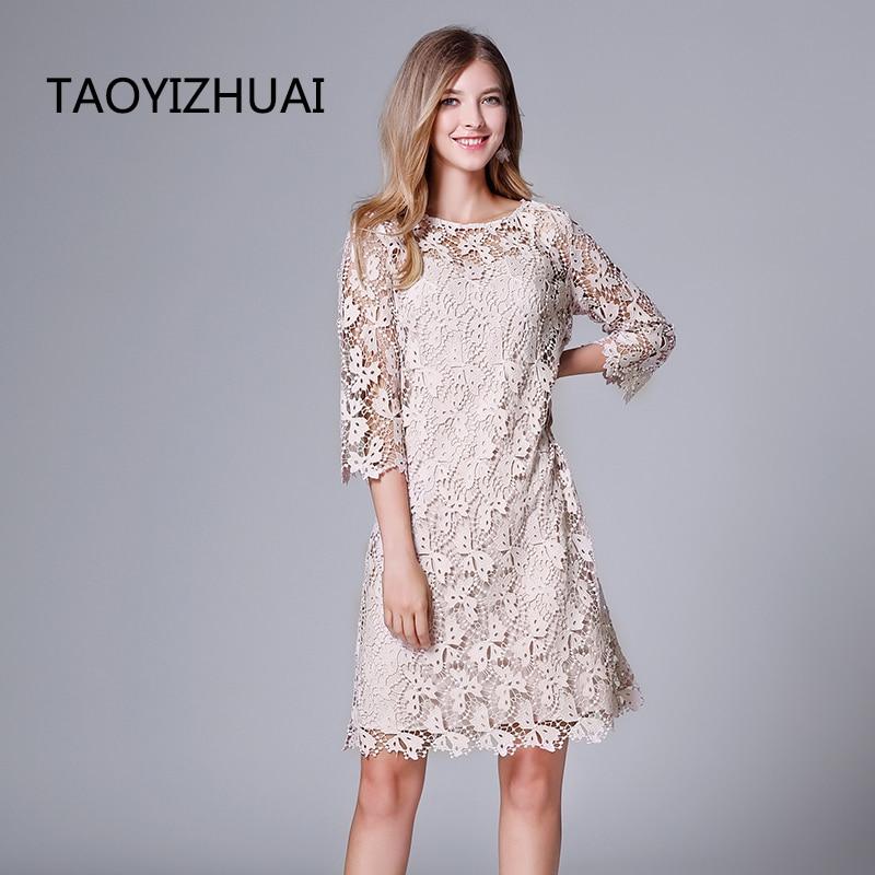 TAOYIZHUAI-فستان غير رسمي للنساء ، نمط عادي ، مخرم ، فوق الركبة ، فضفاض ، أنيق ، طبيعي ، 14244