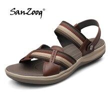Alta qualidade sandálias de couro genuíno dos homens sapatos verão respirável listrado design sandálias praia couro real 2019 trekking