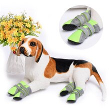Chaussures pour chien de compagnie antiglisse réfléchissant   4 pièces, pour animaux de compagnie de 4 saisons, protection contre les pattes, pour chiens moyens et grands, Labrador Husky