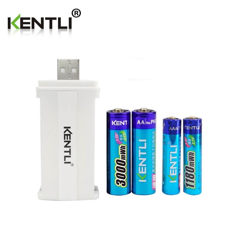 4 шт. KENTLI 1,5 v 1180mWh/3000mWh литий-ионный Аккумулятор AA AAA батарея + 2 слота CU57 зарядное устройство