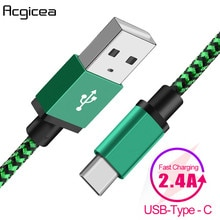 Type-C USB C Cable Bradied 2.4A Quick Fast Charge Mobile Phone Charger Cables For Samsung S9 Xiaomi