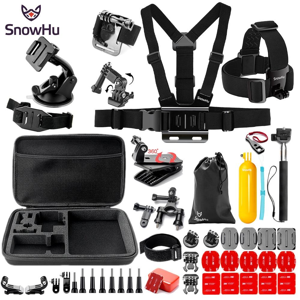 SnowHu For Gopro Hero Y91 Accessories Large bag Helmet band Survival tube Trochal disk For Go pro hero 8 7 6 5 EKEN H9 xiaomi yi