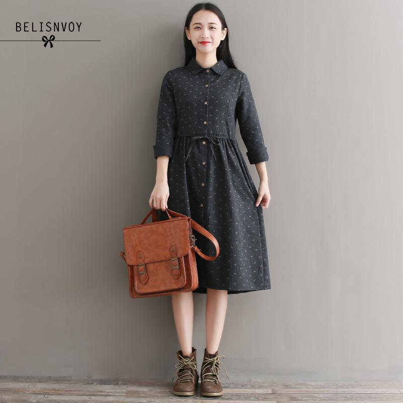 Vestido Vintage de otoño-invierno para mujer, Vestidos de algodón con estampado de manga larga y cuello vuelto elegante para chica Mori
