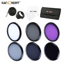 K & f conceito cpl uv fld nd2 nd4 nd8 lente filtro conjunto para canon nikon 37mm 40.5mm 49mm 52mm 55mm 58mm 62mm 67mm 72mm 77mm polarizador