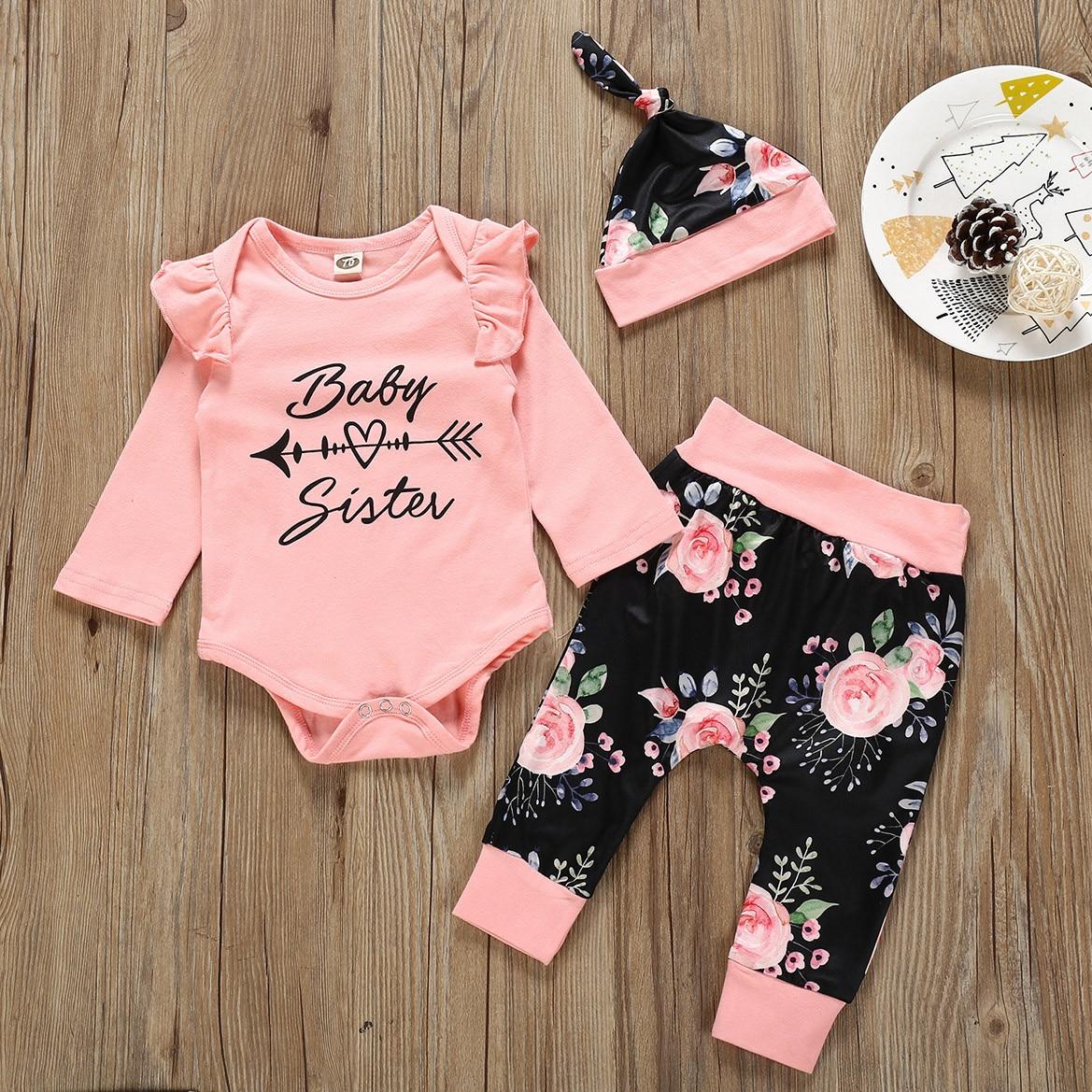 Newborn Baby Girl Clothes Infant Baby Girl Sets Letter Romper+Flower Pants+Cap Newborn Baby Girl Outfits Ensemble Bebe Fille