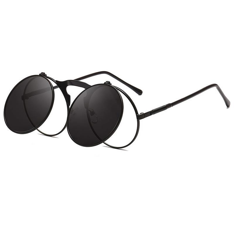 New Metal Round Steampunk Sunglasses Women Men Square Double Flip Lens Cover Punk Sun Glasses Clear
