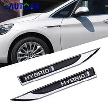 2pcs auto styling Carrosserie Fender Side 3D Metal Chrome HYBRID Embleem Stickers Voor Nissan Honda Toyota Camry hyundai ford