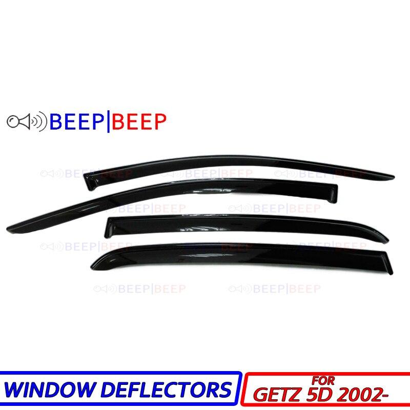 Para hyundai getz 5d 2002-defletores de janela do carro defletor de vento do carro guarda sol chuva ventilação viseira capa guarnição estilo do carro acessórios