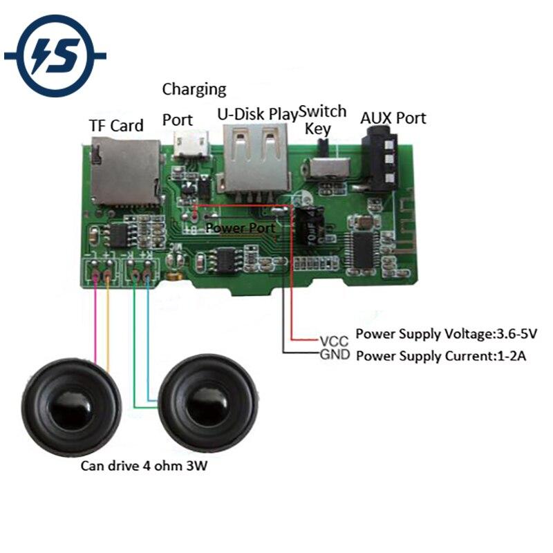 Placa decodificadora de MP3 inalámbrico receptor de Audio Bluetooth Módulo 2x3W U-disco AUX FM TF TARJETA DE MP3 jugador