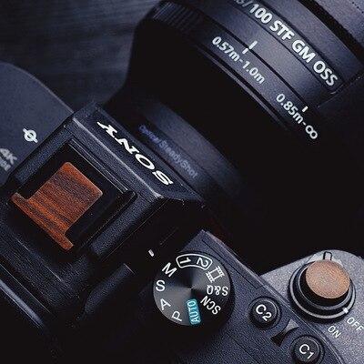 Botón de madera del obturador de la cámara y cubierta para zapata de madera para Sony A74 A7R4 A7M4 IV A92 A9II para Leica Q