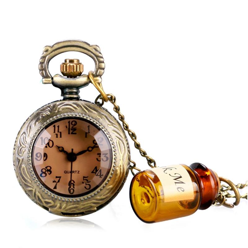 Retro relógio de bolso de quartzo feminino meninas presente alice no país das maravilhas beber me garrafa do vintage bonito colar pingente corrente