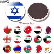 Autocollant drapeau israélien dôme de verre   Autocollant magnétique de réfrigérateur, 30 MM, asie occidentale, Jordan, turquie, arménie, décor de cuisine magnétique pour réfrigérateur