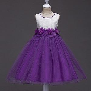 New Kids Girl Lace Flower Party Dress Spring Summer Princess Mesh Tutu Dresses Evening Clothing 4-16T