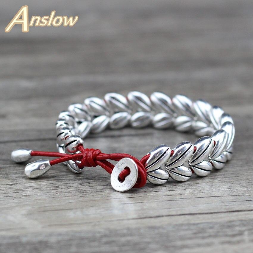 Anslow 2019, diseño creativo de hoja cruzada, cuentas plateadas antiguas, pulsera de piel auténtica para mujer, regalo para mujer, LOW0651LB