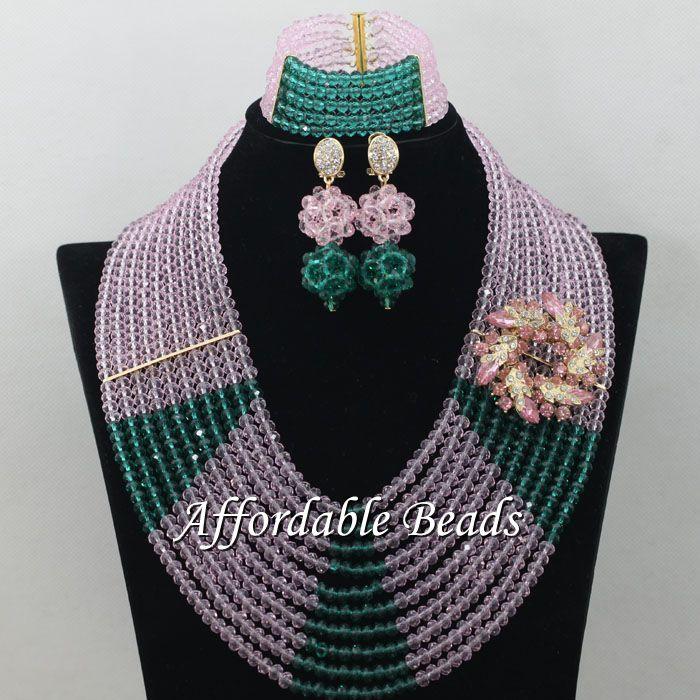 Conjunto de joyería de encaje verde militar Rosa gran oferta conjunto de joyería artículo hecho a mano al por mayor envío gratis ABE159