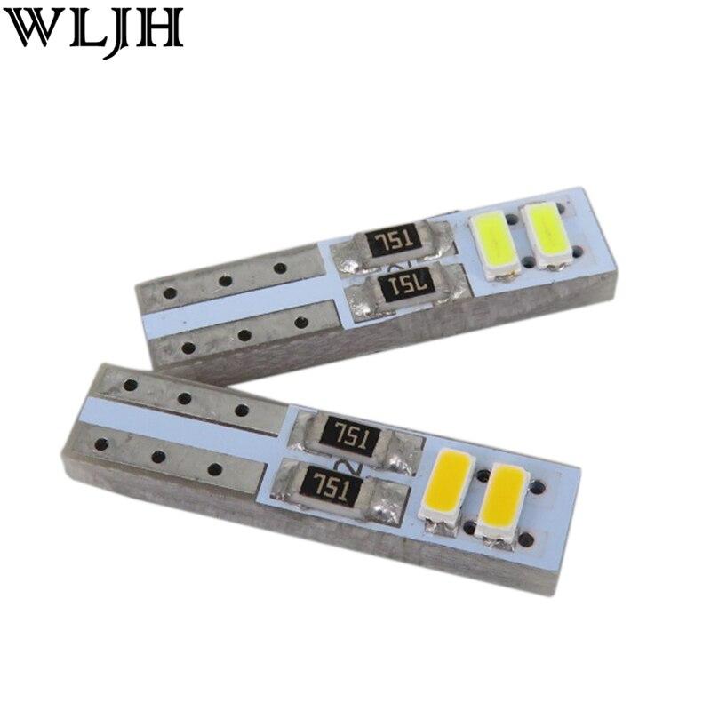 WLJH 10 Uds coche Led T5 W3W 3014 SMD cuña bombilla 73 74 Panel de instrumentos Velocímetro LED lámpara Tacho Dash bombillas de luz LED Universal