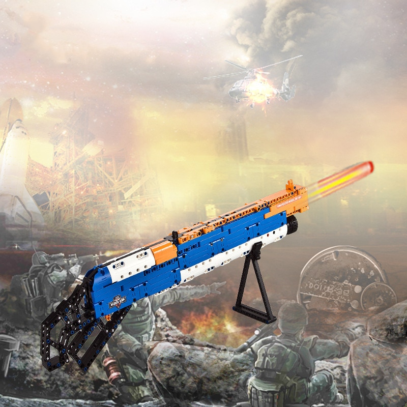 Hot Boy Gift Military Toy Gun DIY Assembling Blocks M1887 Lever Type Soft Bullet Dun Kids Assembly Building Blocks Toys Model