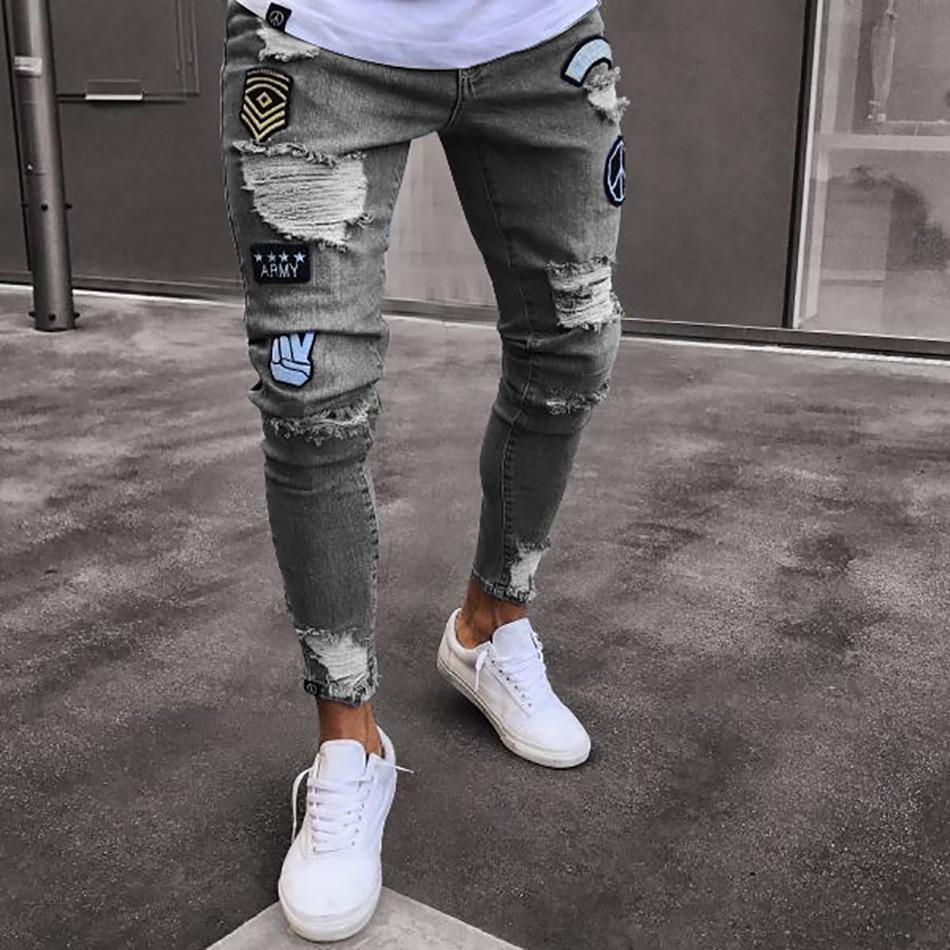 Новинка 2019, мужские стильные рваные джинсы, байкерские обтягивающие прямые потертые джинсы, новые модные обтягивающие джинсы больших разме...