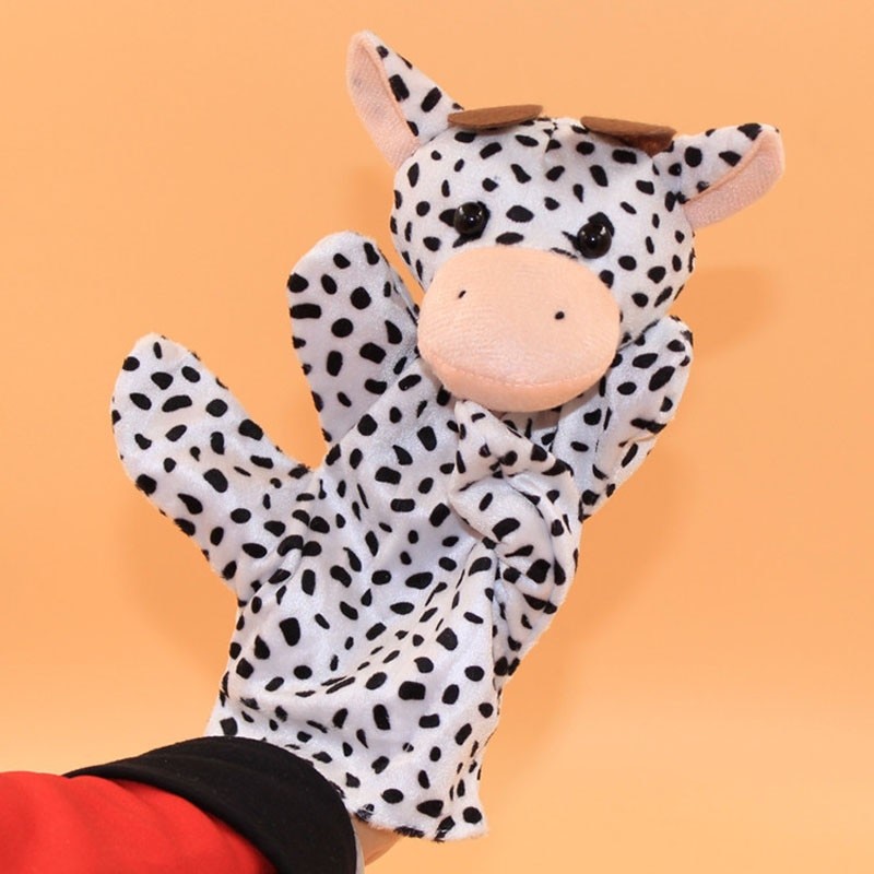 New 2019 Funny Milk Cow Animal Finger Puppet 1 PC Baby Kids Plush Fabrics Toys 5.15