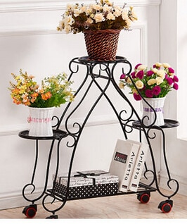 Ou shi, wrought iron multi-layer mobile push-pull florist. Pulley floor cosmetic. Flower pot.