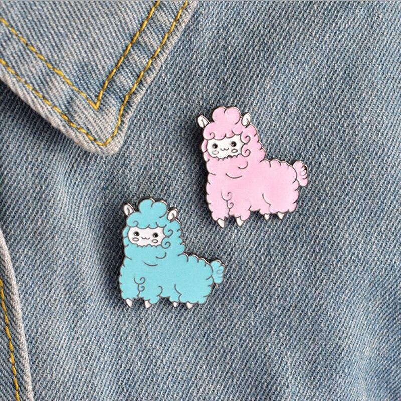 1 Uds broche de metal de oveja de animales de dibujos animados Pines de botón denim alfiler para chaqueta joyería pins de decoración para la ropa prendedores de solapa
