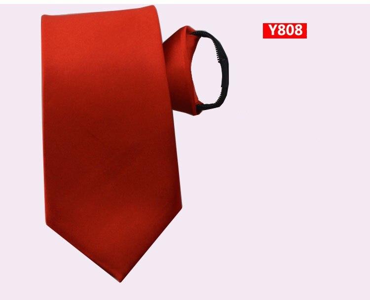 Custom Logo Men's Necktie 8cm Zipper Tie Adult Business Neckwear Zip Polyester Neck Tie Ascot Solid Red Blue Wedding 10pcs/lot