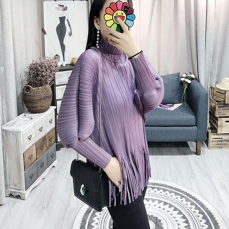 Женская блузка с длинным рукавом, плиссированная рубашка с высоким воротником, Новинка лета 2019