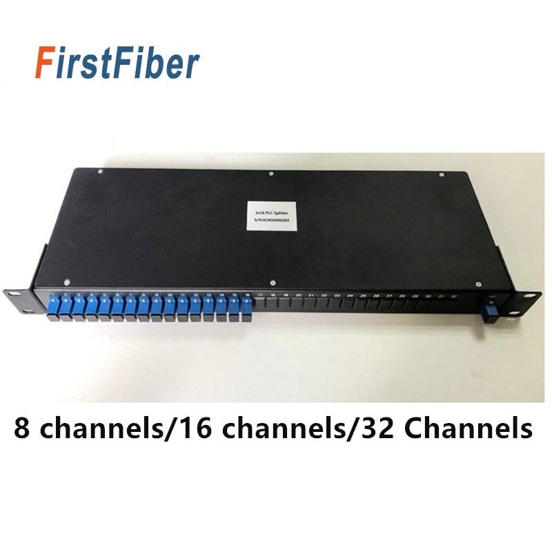 Divisor PLC Montado en Rack 1 U alto 19 pulgadas 8 canales 16 canales 32 canales opcional SC APC/UPC conector/Adaptador