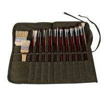 Fırça saklama için yağ suluboya kalem sanat malzemeleri sanatçılar için boya kırtasiye ordu yeşil tuval kılıfı boya fırça çantası