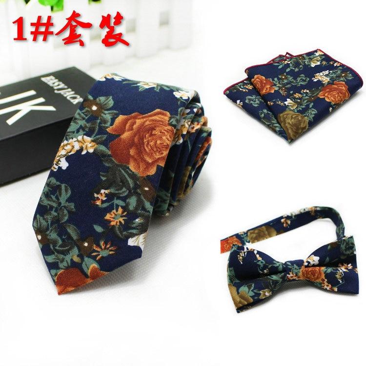 Fashion Necktie Groom Gentleman Neck Tie Set 3PCS/SET Wedding Birthday Party Gifts Tie Cotton Gravata Slim Arrow Neck Tie Set